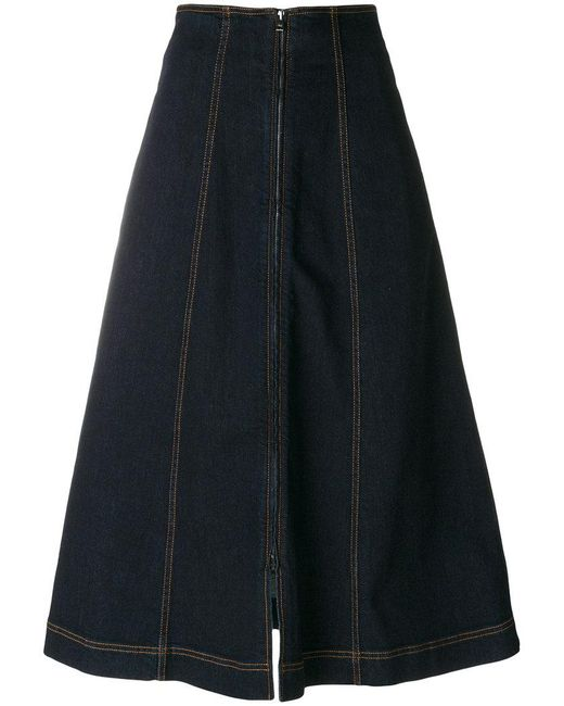 Fendi - Blue Denim Flared Midi Skirt - Lyst