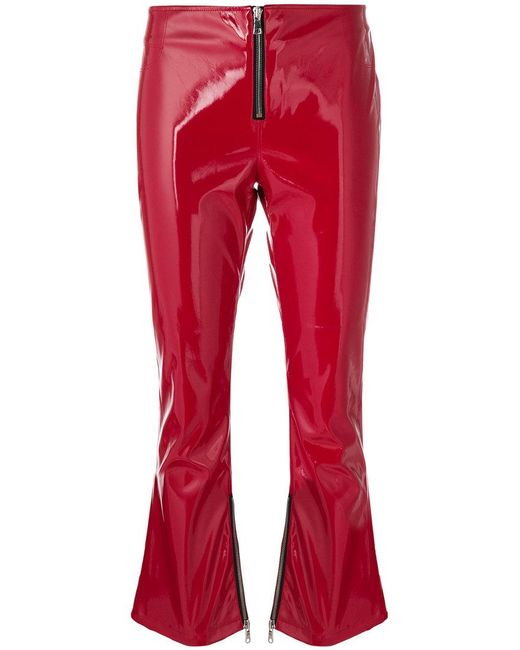 RTA - Patent Faux-leather Cropped Flared Trousers - Lyst