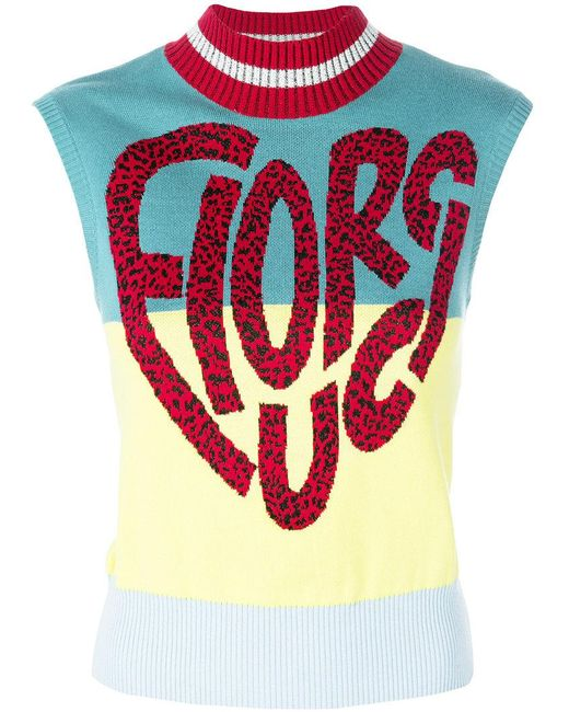 Fiorucci - Blue Sleeveless Logo Sweater - Lyst