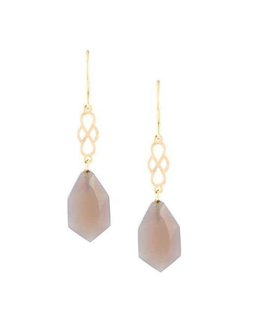 Wouters & Hendrix - Metallic 'my Favourite' Grey Agate Earrings - Lyst