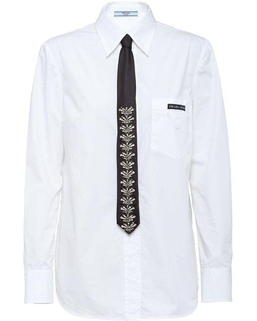 Prada White Crystal Embellished Tie Shirt