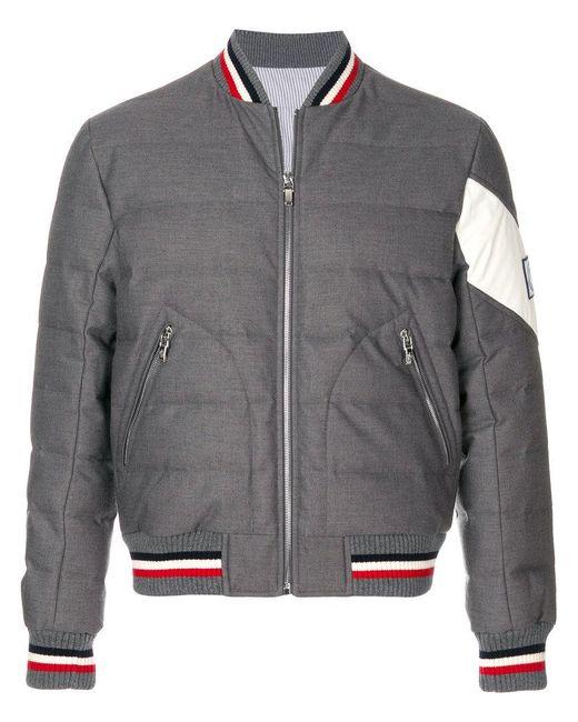 Moncler - Gray Padded Bomber Jacket for Men - Lyst