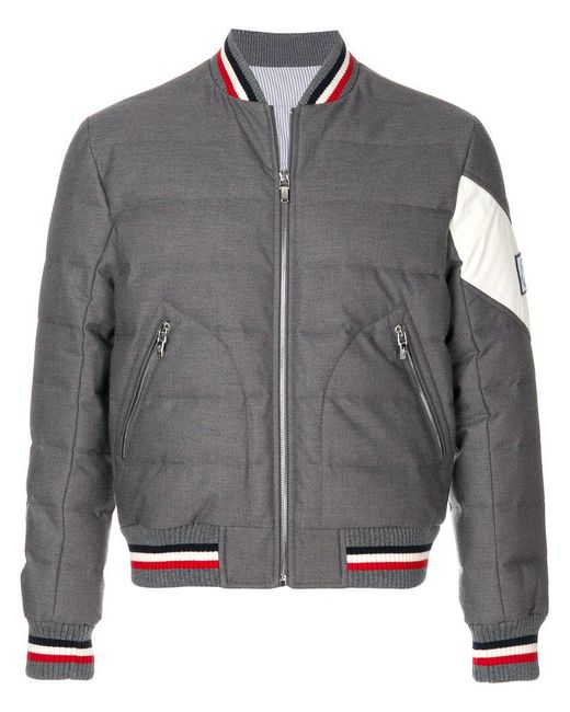 Moncler Gamme Bleu | Gray Padded Bomber Jacket for Men | Lyst