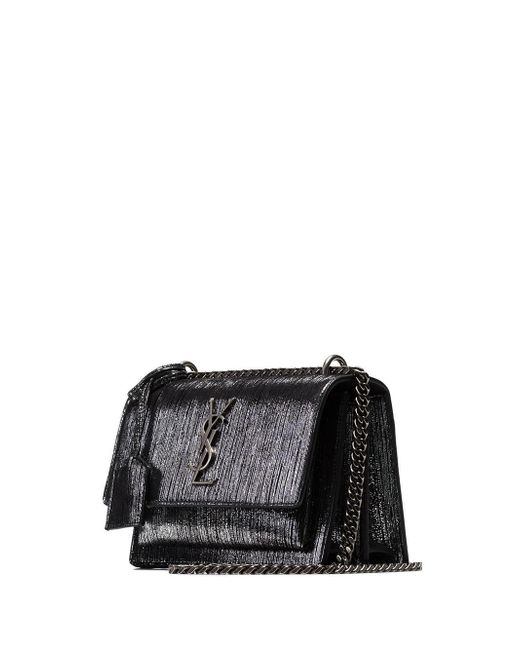ac558ce6ee ... Saint Laurent - Metallic Silver Sunset Small Lamé Leather Shoulder Bag  - Lyst