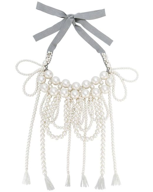 Moy Paris - White Layered Tassel Necklace - Lyst