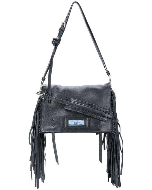 Prada - Black Etiquette Fringed Shoulder Bag - Lyst