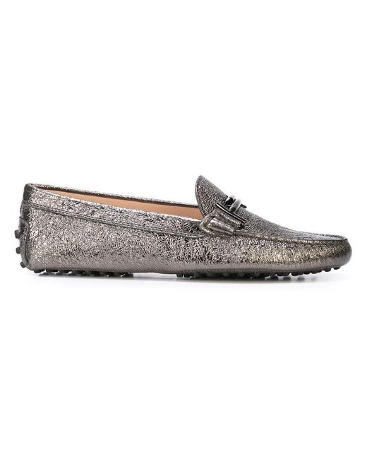 f585f9d58bc Tod s - Metallic Double T Loafers - Lyst ...