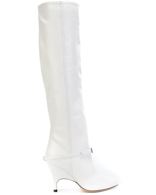 Alchimia Di Ballin - White Buckle Detail Knee Length Boot - Lyst