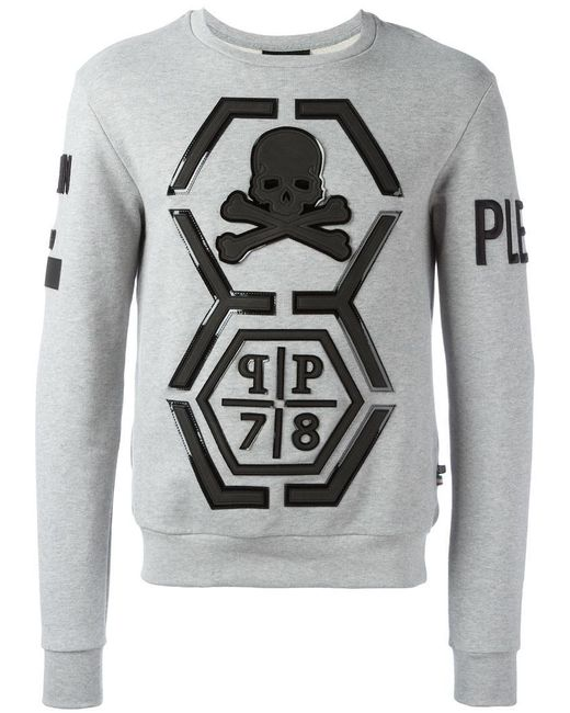 philipp plein reliable sweatshirt in grey for men lyst. Black Bedroom Furniture Sets. Home Design Ideas