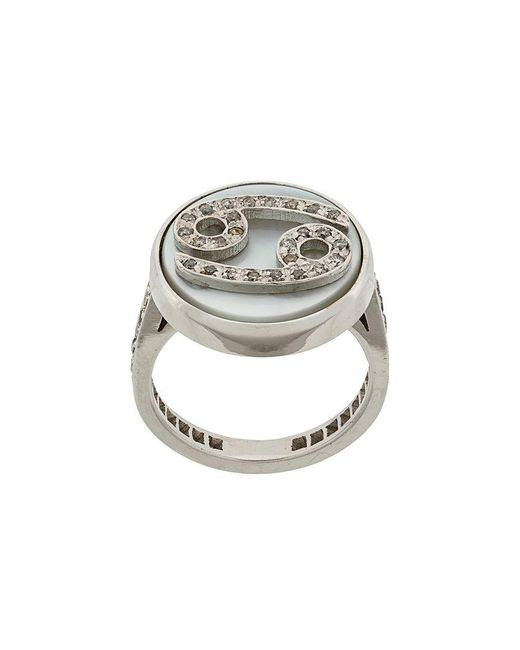 Carolina Bucci - Metallic 18kt Gold And Grey Diamond Lucky Cancer Zodiac Ring - Lyst