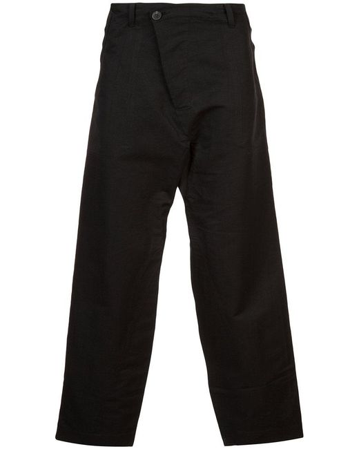 Jan Jan Van Essche - Black Cropped Flared Trousers for Men - Lyst