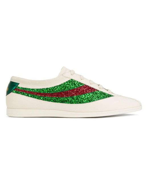 f40552f88ba Gucci - White Falacer Sneakers With Sequinned Web for Men - Lyst ...