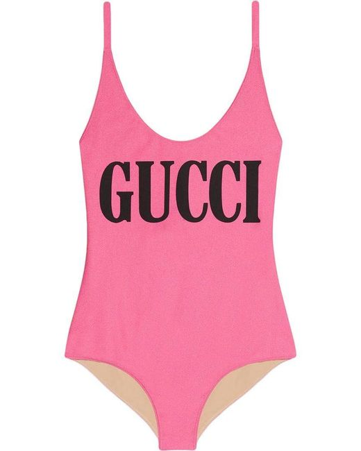 Gucci - Pink Logo Print Cross-over Strap Swimsuit - Lyst
