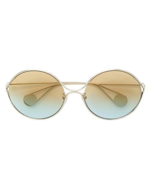 dcb9a9cbca8 Gucci - Metallic Round Frame Sunglasses - Lyst ...