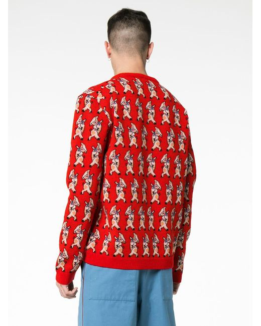 6dc45ec8522 Lyst - Gucci Red Wool Pig V-neck Sweater in Red for Men - Save 53%