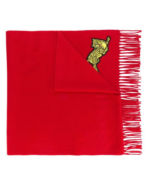 KENZO - Red Jumping Tiger Scarf - Lyst