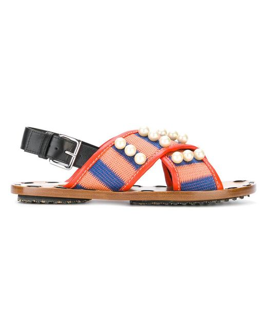 Marni - Multicolor Pearl Embellished Striped Sandals - Lyst