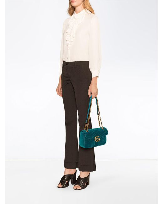 fe1a41f6fbb ... Gucci - Blue GG Marmont Velvet Shoulder Bag - Lyst ...