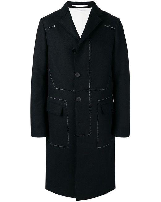 Jil Sander - Black Contrast Stitch Coat for Men - Lyst