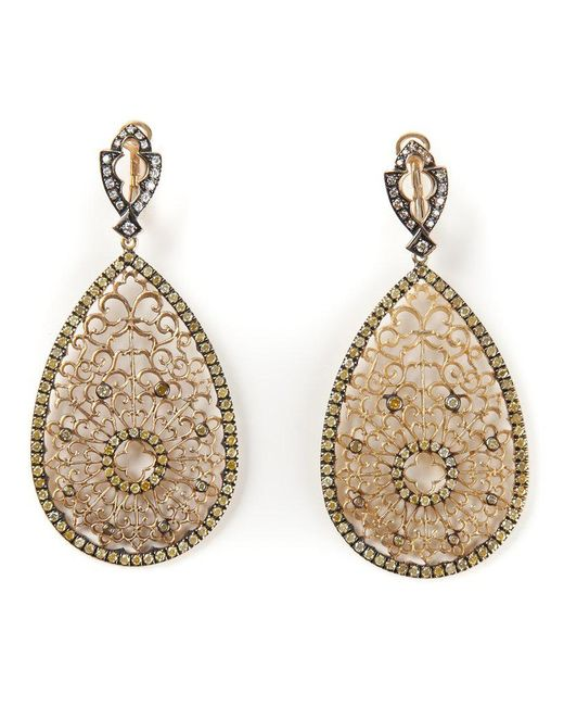 Loree Rodkin - Metallic Filigree Diamond Tear Drop Earrings - Lyst