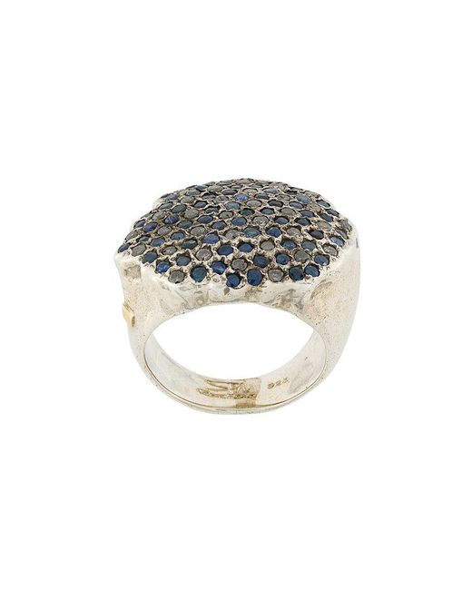 Rosa Maria - Metallic Pave Diamond And Sapphire Ring - Lyst