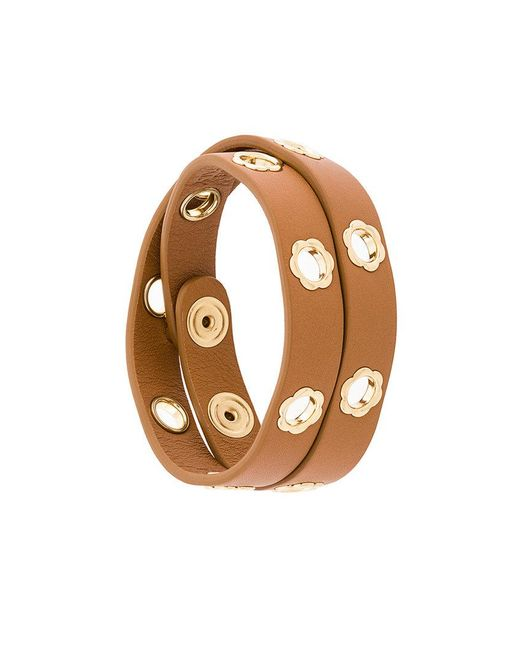 Ferragamo | Brown Flower Eyelet Bracelet | Lyst