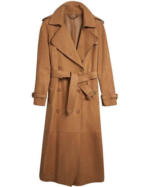 Burberry - Brown Nubuck Trench Coat - Lyst