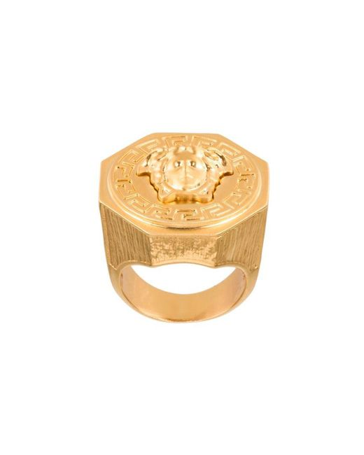 Versace - Metallic Medusa Ring for Men - Lyst
