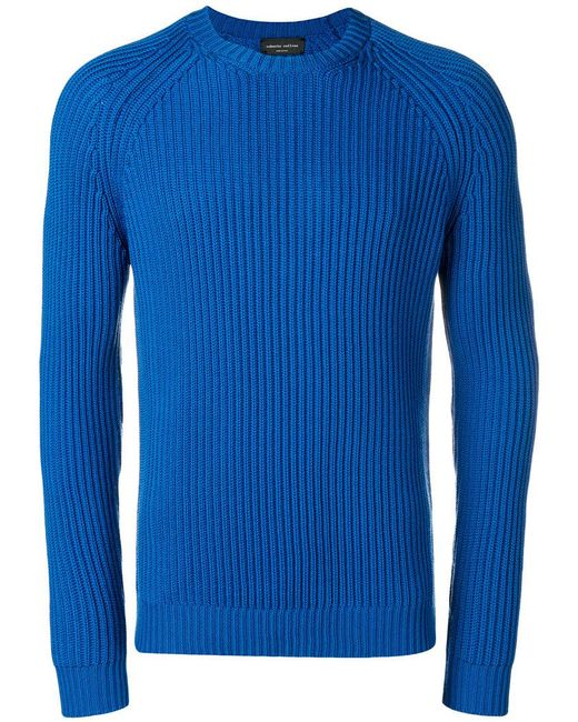 Roberto Collina - Blue Ribbed Jumper for Men - Lyst