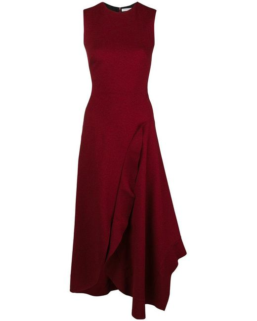 Victoria Beckham - Red Asymmetric Ruffled Detail Dress - Lyst