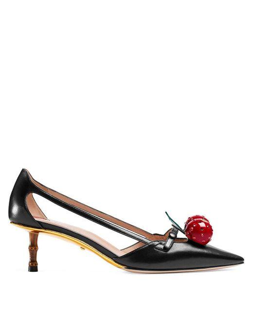 Gucci Black Leather Cherry Pumps