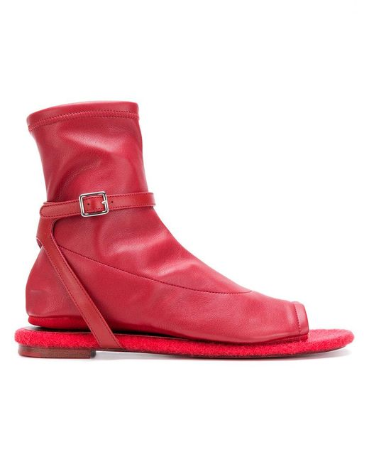 MM6 by Maison Martin Margiela | Red Sandal Boots | Lyst