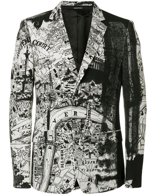 Alexander McQueen - Black London Map Blazer for Men - Lyst