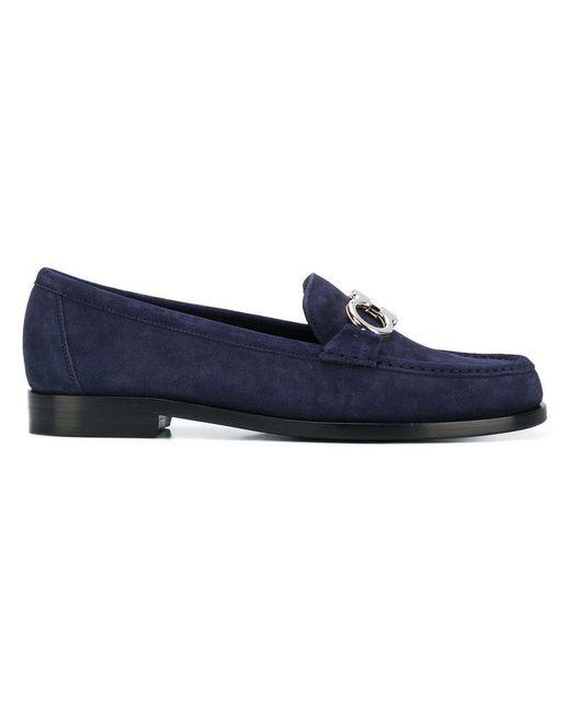 Ferragamo - Blue Women's Rolo Reversible Gancini Suede Loafers - Lyst