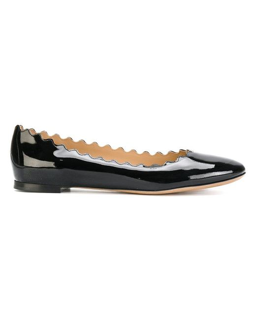 Chloé - Black Scalloped Ballerinas - Lyst