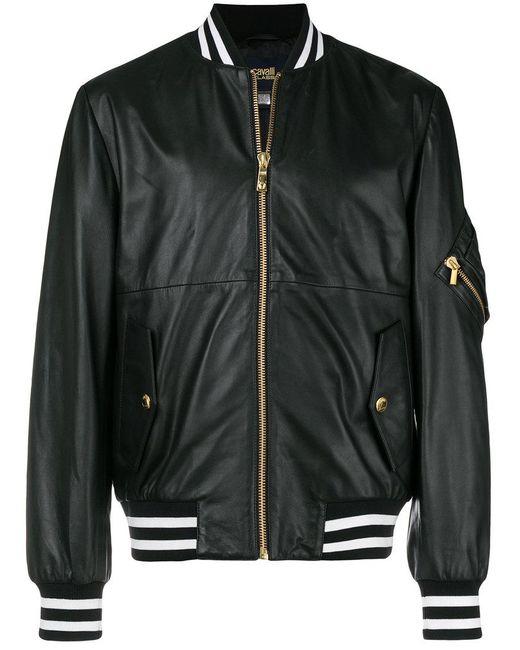 Class Roberto Cavalli - Black Back Print Bomber Jacket for Men - Lyst ... 57d0a317152