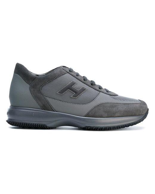 Hogan | Gray Panelled Branded Sneakers for Men | Lyst