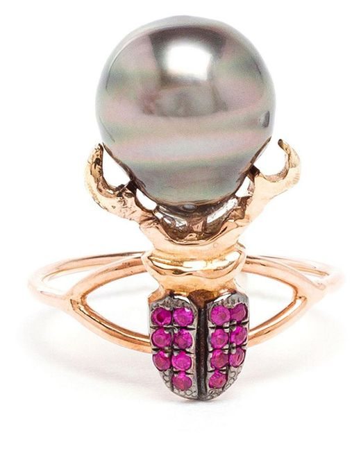 Daniela Villegas - Metallic Ruby And Pearl Beetle Ring - Lyst