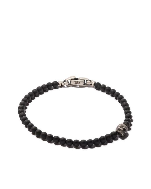 David Yurman - Spiritual Beads Black Onyx And Silver Skull Bracelet for Men - Lyst
