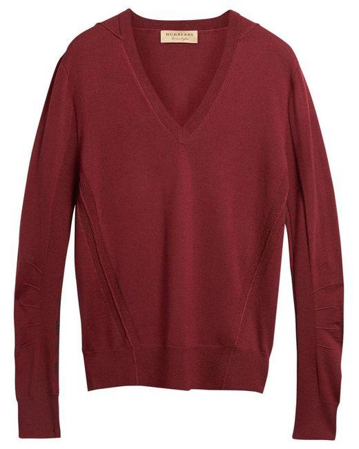Burberry - Red V-neck Sweater for Men - Lyst