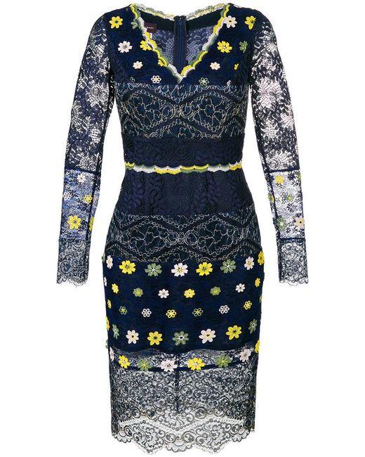 Talbot Runhof - Blue Lace V-neck Dress - Lyst