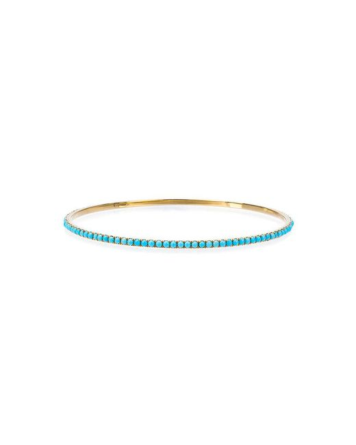 Rosa De La Cruz - Metallic Turquoise Stone Bangle - Lyst