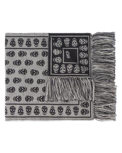 Alexander McQueen | Gray Skull Print Fringed Scarf for Men | Lyst