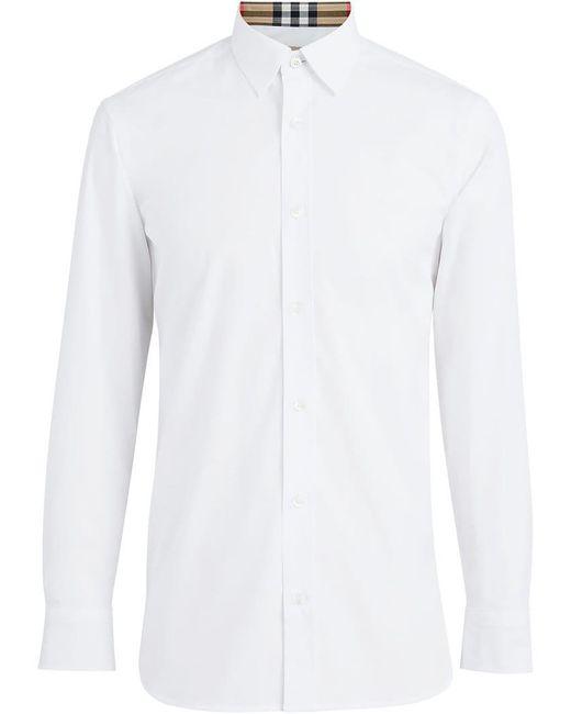 Burberry - White Popeline-Hemd mit karierten Details for Men - Lyst