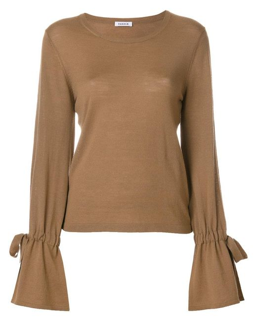 P.A.R.O.S.H. | Brown Knit Tied Sleeve Top | Lyst