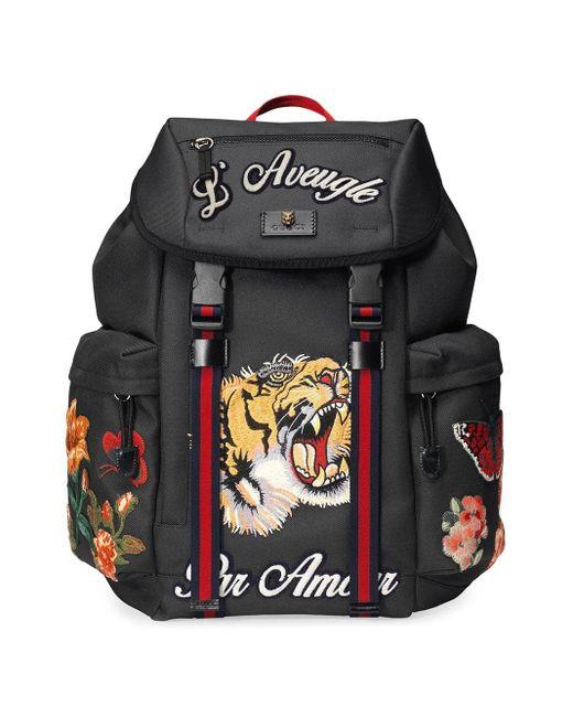 Gucci - Black 'Techpack' Rucksack mit Stickerei for Men - Lyst