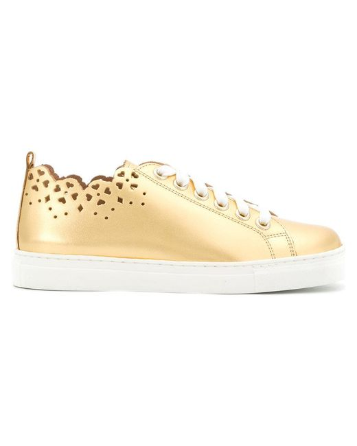 Twin Set - Metallic Heart Stencil Lace-up Sneakers - Lyst