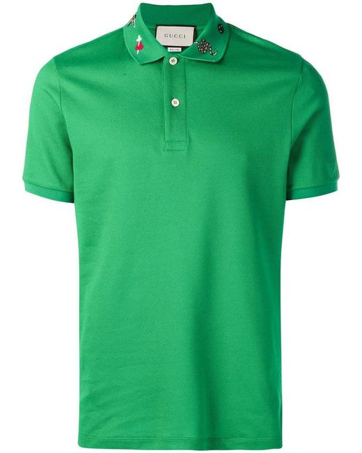 bff95641 Gucci - Green Embroidered Polo Shirt for Men - Lyst ...