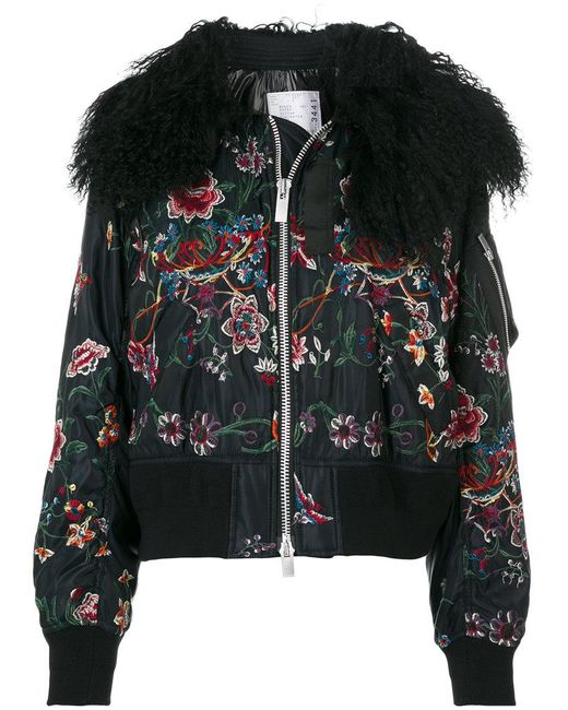 Sacai - Black Floral Embroidered Bomber Jacket With Collar - Lyst