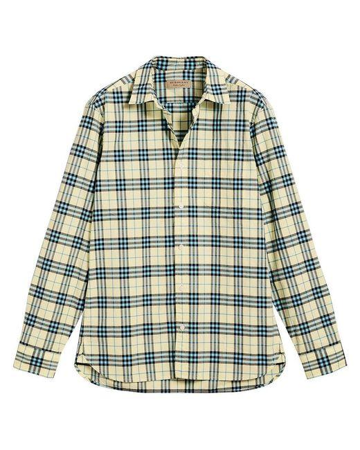 Burberry - Green Check Shirt for Men - Lyst